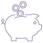 Money falling into a piggy bank.
