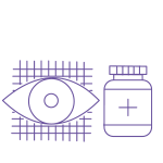 Outline of an eye and a medication jar.