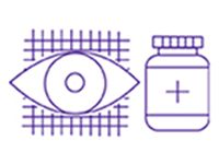 Medication bottle and eye icon